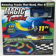 NEW Magic Tracks 220 Pieces Glow in the Dark Track 11 ft Speedway + Car Toy Set
