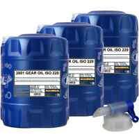 3x MANNOL 20 Liter Gear Oil ISO 220 Getriebeöl DIN 51517-3 ANSI/AGMA 252.04