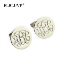 Personalized S925 Monogram Initials Name Letter Custom Round Stud Earrings