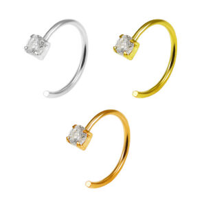 925 Sterling Silver Round Jeweled Claw Set Open Hoop Nose Ring