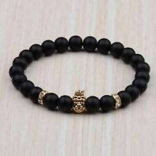 Fashion Unisex Golden Cross Lion 8MM Natural Matte Stone Charm Bracelets Jewelry
