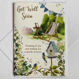 GET WELL SOON Card Birds Blue Tit / Wildlife Garden MALE or FEMALE By C-50