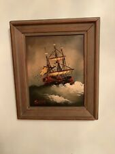 Vtg Framed Signed Painting: Sailboat Oil on Canvas Midcentury 13.2x11.2/10x8 Inc