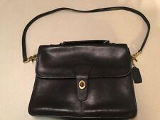 Vintage Coach Black Leather Cross Shoulder Purse Bag 135-8446