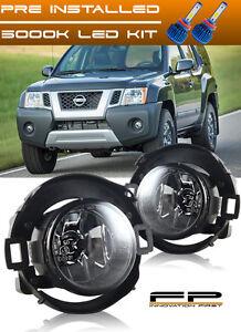 For 2005-2015 Nissan Xterra Clear Lens Fog Light Driving Lamp Complete Kit + LED