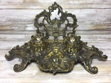 Antique Victorian Double Ink Well Letter Holder CBF England Brass Antique Heavy