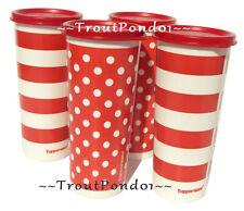 Tupperware Tumblers Set of 4 Red and White Polkadots Stripes 16 Oz Tall Iced Tea