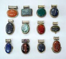 pendant lot of 12 pcs vintage sterling silver gemstone jewelry