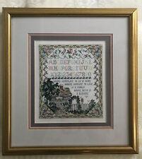 More details for vintage style professionally framed cross stitch embroidered sampler home