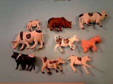 Plastic Cows and Calves Farm Toys Livestock Marx Style, Hong Kong Vintage
