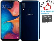 Samsung GALAXY a20e 32gb BLU sm-a202f (Dual Sim) Nero +32gb SDCARD GRATIS