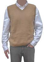 TINKUY PERU 100% Alpaca Wool Mens Knit V-Neck Pullover Beige Camel Sweater Vest