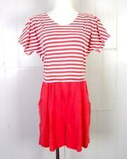 vtg 80s Fantaseas ADORABLE Nautical / Sailor Red White Stripe Batwing Romper M/L
