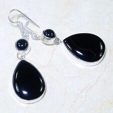 NATURAL BLACK ONYX 925 SILVER DANGLE EARRINGS, 2-3/8 INCHES