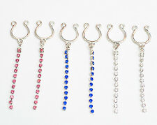 6 x Nipple clips pink,blue,clear gems. bars shields chains no piercings needed