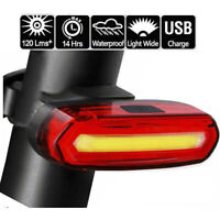Bike Bicycle Cycling USB Rechargeable Front Rear Light 4-Modes LED Tail Lamp