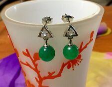 Beautiful Silver Natural Green Jade Ball Bead Good Luck Stud Earrings