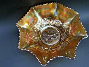 AUSTRALIAN  MAGPIE CARNIVAL GLASS MARIGOLD MASTER BOWL BY CROWN CRYSTAL SYDNEY