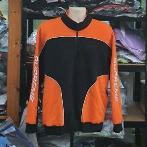 FW18 Supreme Sweatshirt Half-zip Speedway Black / Orange Crewneck size L large
