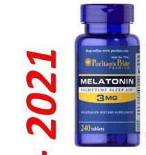 Mélatonine 3mg Somnifères 240 Tablettes Fabriqué en USA Très Frais Expiration