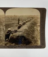 Underwood Stereoscope Card Skirmish Line Shooting Rifle Training WWI 19-3041BZ