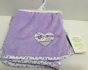 Carters Butterfly Kisses Purple Floral Trim Satin Back Baby Blanket New