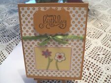 HAPPY BIRTHDAY~ FLOWERS HANDMADE GREETING CARD A2  #BH1213 STAMPIN UP +MORE