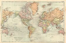 1911 VICTORIAN MAP ~ THE WORLD IN MERCATORS PROJECTION STEAMER ROUTES
