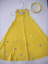STORYBOOK HEIRLOOM SZ XS 6X BRIGHT YELLOW SUN DRESS FLOWERS HEADBAND PAGEANT
