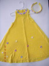 STORYBOOK HEIRLOOM SZ XS 6X BRIGHT YELLOW SUN DRESS FLOWERS HEADBAND PAGEANT