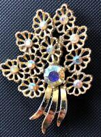 Vintage Gold Tone Aurora Borealis Floral Leaf Brooch Pin