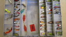 """VINTAGE LOADED MY CADDY TACKLE BOX 19""""X8""""X9"""" HEDDON LURES, BATTERY BOBBERS"""