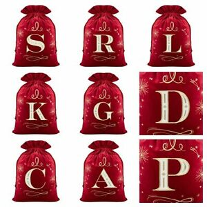 Alphabet Christmas Sack Stockings with Gold Embroidery Letters (Assorted)
