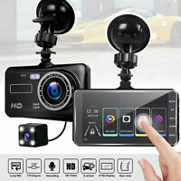New HD 1080P 4'' Touch Screen Car DVR Dual Lens Video Recorder Camera Dash Cam