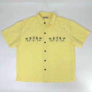 Island Republic Hawaiian Shirt Men's Size XL Yellow Coconuts Palm Trees Martinis