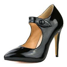 Elegant Women Heels Stylish Pointed Toe Black Heels Pumps Shinny Big Size 4-15