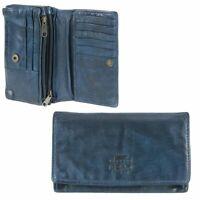 Damen Geldbörse Leder 14 Kartefächer Geldbeutel Portemonnaie Bear Design blau