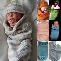 Newborn Baby Warm Swaddle Blanket Sleeping Swaddle Knitted Wrap + Beanie Hats