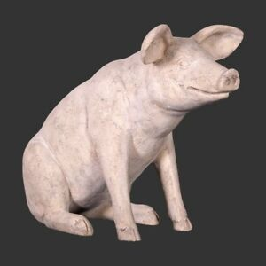 Small Roman Stone Effect Pig Indoor Outdoor Garden Ornament Collectable Gift