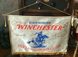 Vintage Original Winchester Rifles & Shotguns Dealers Silk Banner