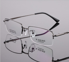 Half-rim titanium alloy Eyeglass frames Eyewear Glasses Rx-able Gunmetal unisex