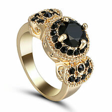 Size 6 Vintage Round Black Sapphire Anniversary Ring 10Kt Yellow Gold Filled