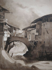 Antique ink drawing, French school. Village houses by a river. Early 1800s