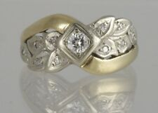 Diamond Leaf Bypass Right Hand Ring Vintage Estate 14k Two Tone Yellow Gold