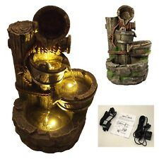 Wishing Well Waterfall Garden Pump Fountain LED Lights Outdoor Water Feature New