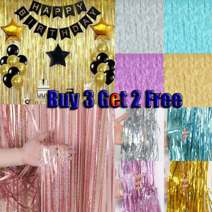 Self Adhesive Foil Fringe Tinsel Shimmer Curtain Happy Birthday Party Door Decor
