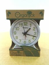 New Organtick Keywind Analog Alarm Clock Model #2056 - White with white face