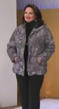 Dennis Basso Animal Print Quilted Coat with Faux Fur Lining, Gray Animal,Size M