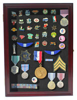 Lapel Pin Button Medal Display Case Wall Cabinet Shadow Box, LOCKABLE PC01L-CHE