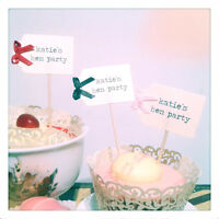 10x Vintage Typewriter Cupcake Flags Hen Party Do Personalised + Bows Party Pick